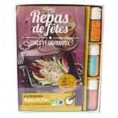 Coffret repas de fêtes + livre Kit 3 flacons de cristaux + Livre 42 recettes