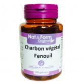 Charbon Végétal activé - Fenouil 120 gélules Nat & Form 120 gélules