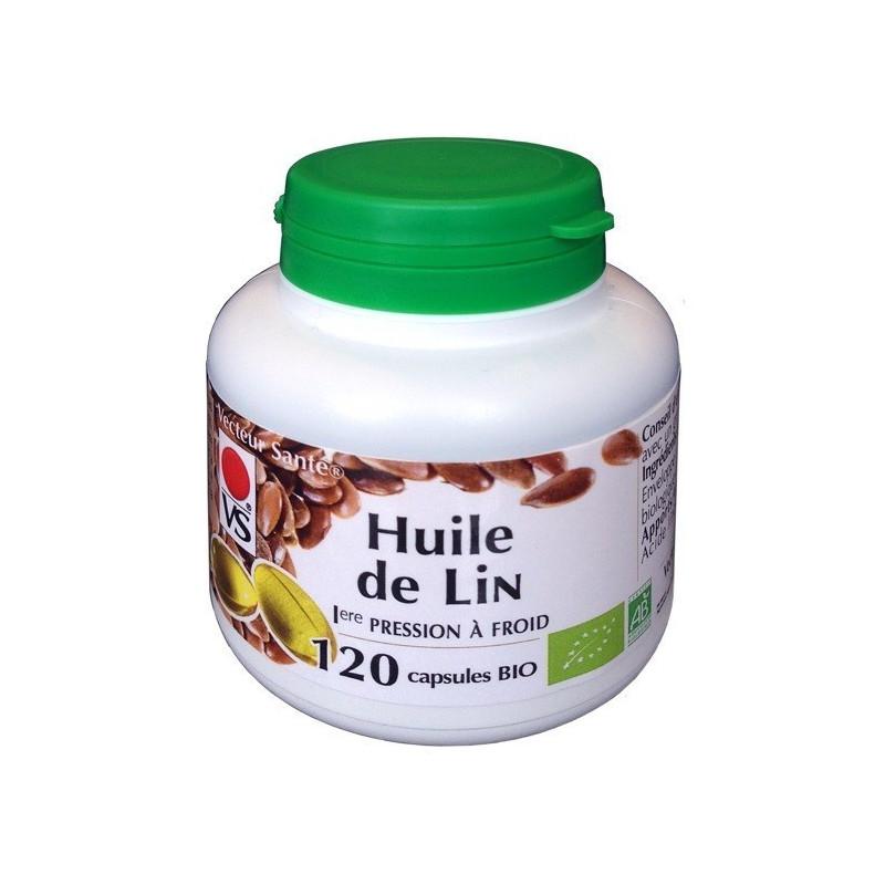 Huile de lin Bio 120 Capsules Vecteur Santé 120 capsules dosées à 270 mg