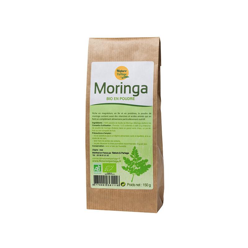 Moringa Bio Poudre 150 gr Nature et Partage Sachet craft de 150 gr