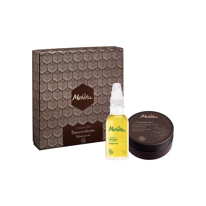 Coffret L'Argan Bio Melvita Boite coffret avec 2 produits Melvita