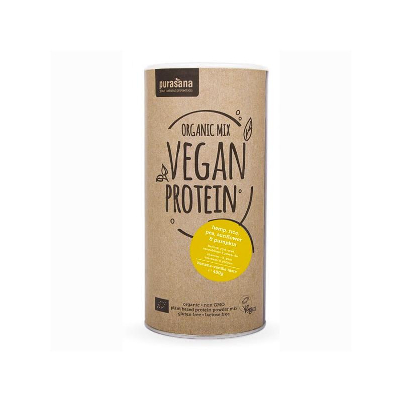 Mix de Protéine Vegan Banane et Vanille Bio 400 gr Pot refermable de 400 gr