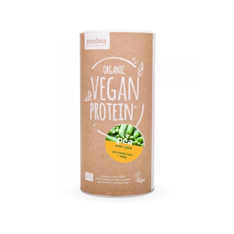 Protéine Vegan de Pois Goji et Vanille Bio 400 gr Pot refermable de 400 gr