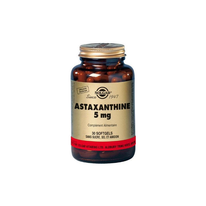Astaxanthine 5mg 30 gélules Solgar 30 gélules végétales