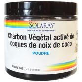 Charbon végétal activé de coco Solaray 75 grammes