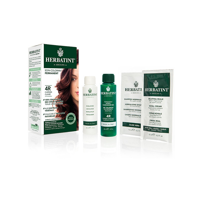 Herbatint 4R Chatain Cuivré 150ml Kit soin colorant