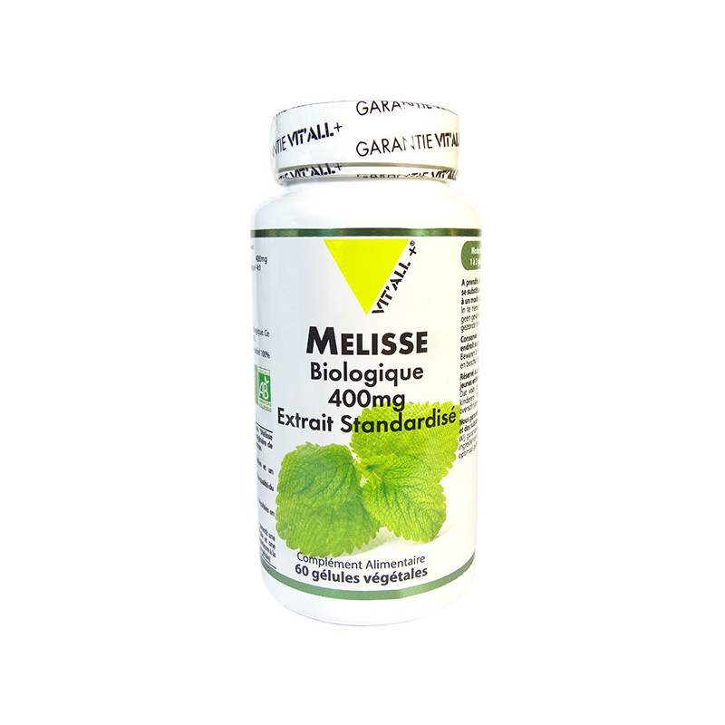 Mélisse bio 400mg 60 gélules Vitall+ 60 gélules végétales