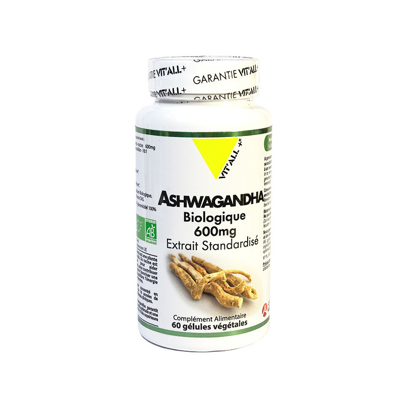 Ashwagandha Bio 600mg 60 gélules Vitall+ 60 gélules végétales