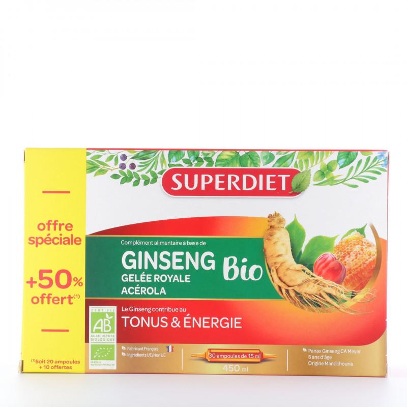 Ginseng Gelée Royale Acérola Bio Super Diet 20 ampoules + 10 offertes