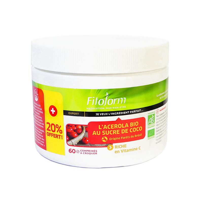 Acérola_1000_bio_sucre_coco_60_comprimés_Fitoform