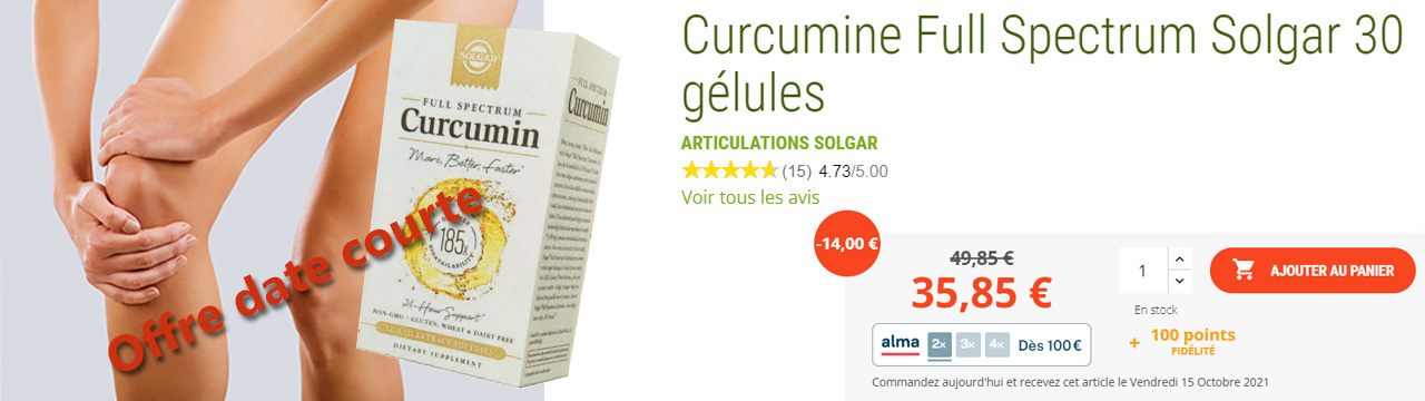 Nature et forme, spécialiste du curcuma et des curcumines, propose sa curcumin Full Spectrum Solgar pour les articulations