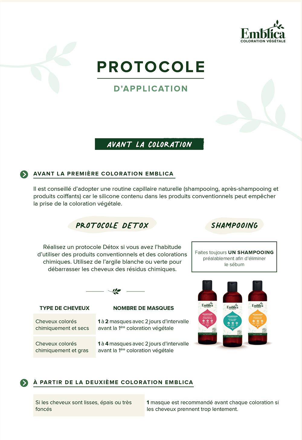 Protocole application Emblica avant la coloration